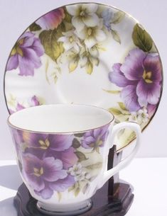 Fine Bone China Cup and Saucer Purple Pansy Chintz
