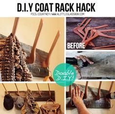 Idea #faidate per realizzare un #appendiabiti con le #grucce decor, hook, craft, idea, glass box, coat racks, hangers, diy, coats