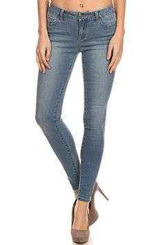 Enjean Womens HighWaist Faded Ankle Skinny Jeans Light Wash 0 ** Continue to the product at the image link.