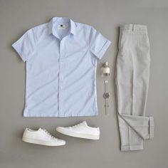 Men Clothing Minimal outfit grids for men Men Fashion Show, Mens Fashion Blog, Men's Fashion, Fashion News, Topman Fashion, Casual Outfits, Men Casual, Style Minimaliste, Look Man
