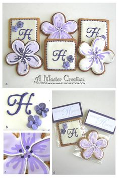 """These cookies have been planned for months and finally were executed this week. 300 cookies for Leelana & Gabriel's wedding.  a) Complete set. 150 plumeria's, 150 monogram cookies.  b) Monogram """"H"""" to match the couple's logo. The two flowers are royal  Please don't miss our creative wedding favor ideas at www.CreativeWeddingStyle.com"""