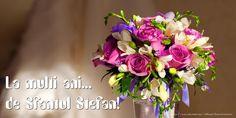 La multi ani... de Sfantul Stefan! Happy Birthday Wishes, Spring Flowers, Vows, Floral Wreath, Wreaths, Cards, 15 August, Facebook, Education