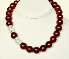Red Pearl Necklace with White Handmade Beaded Jewelry with Swarovski Crystal Rondelles