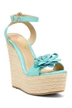Elegant Footwear Laysia Flower Platform Wedge