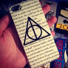 """HANDMADE Real Book Page! GLITTER """"Deathly Hallows"""" iPhone 4 / 4s / 5 / 5s Samsung Phone Case """"Harry Potter inspired"""" cover 5c All sizes! on Etsy, $23.99"""
