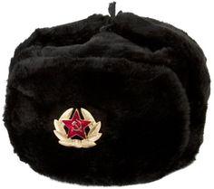 3942e5199dafc Amazon.com  Hat Russian Ushanka Black Soviet Army soldier  Clothing Buy Hats
