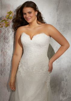 Estilo VOIX Laverna Wedding Dress Timeless Chantilly Lace Bridal Gown Accented with Frosted Alençon Lace Appliqués on Net. Off the Shoulder Detachable Cap Sleeves Add a Romantic Touch. Available in Three Lengths: Colors: White, Ivory, Ivory/Crème Wedding Dresses Photos, Wedding Dresses Plus Size, Plus Size Wedding, Wedding Dress Styles, Tulle Wedding Gown, Bridal Wedding Dresses, Bridal Lace, Wedding Attire, Designer Wedding Gowns