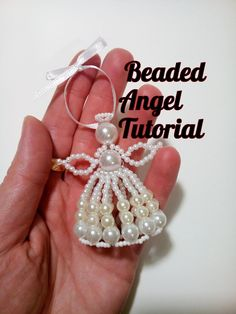 Beaded angel tutorial, Standing angel ornament beading pattern, How to make beaded angel, Beaded Ornament Pattern by LindenHandCrafts on Etsy Beaded Christmas Decorations, Felt Christmas Ornaments, Beaded Ornaments, Ornament Crafts, Diy Ornaments, Glass Ornaments, Christmas Christmas, Beaded Flowers Patterns, Beaded Jewelry Patterns