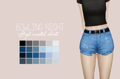 "purrsephonesims:  ""Bowling Night High Waisted Shorts RecolouredLet me know if there are any problems.  Please read my TOU before downloading! You can find it here  ● Standalone  ● Requires Bowling Night  ● Custom Thumbnails  ● 24 Swatches  Download:... #bowlingoutfit"