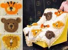 Crochet Lion Tiger Teddy Blanket Pattern