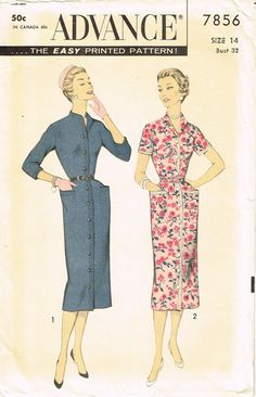 """Advance Pattern 7856 Misses' Slender Day Dress Pattern Dated 1956 Factory Folded and Unused Nice Condition Overall Size 14 (32"""" Bust) We Sell the Best Vintage Sewing Patterns and Embroidery Transfers!"""