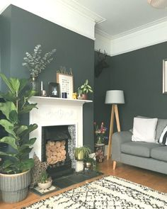 25 Elegant living room wall paints that go with furniture # living room wall colors 1930s Living Room, Victorian Living Room, Elegant Living Room, 1930s House Interior Living Rooms, House Interiors, Dark Green Living Room, Dark Living Rooms, New Living Room, Small Living
