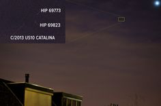 https://flic.kr/p/BFTHhf   C?2013 US10 CATALINA FIRST   Last weekend I failed in a attempt to catch the new comet C/2013 US10 Catalina which made its perihelion on 15'th of November becoming visible if not mistaken on 17'th November early at dawn for Northern hemisphere observers. In between the weather was a real killer, and also for today the forecast wasn't too great. Anyway between the clouds I was able to catch the comet. Not high class like others but as a second attempt and not…