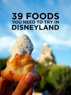 We compiled a list of the 39 of the best disneyland food to put on our disney bucket list. Here's 39 of the Best Food at Disneyland you need to try on your next visit, and we've included where to find them to help you plan the best trip! Comida Disneyland, Best Disneyland Food, Disneyland Resort, Disneyland Secrets, Disneyland Dining, Disneyland 2016, Disneyland Honeymoon, Disneyland Hacks, Disneyland Christmas