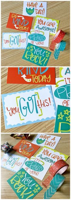 Free Printable Lunch Box Notes | These lunchbox notes have encouraging messages on them in bright happy colors!