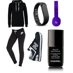 I want to pratick sport! by titsouillelafripouille on Polyvore featuring polyvore, mode, style, ONLY, NIKE, New Balance, Beats by Dr. Dre, Fitbit and Chanel