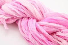 Reclaimed Light Pink Georgette Crepe Ribbon by ChristinasYarns, $5.95