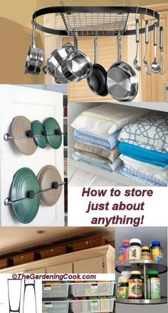 Storage ideas for large items and Unusual shapes - http://thegardeningcook.com/storage-ideas-best-organization/