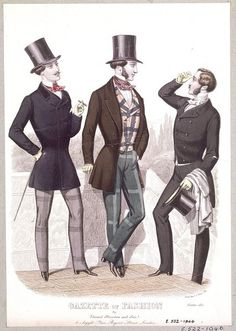 1850s  Looser fitting, thigh length cutaway coats began to make an appearance though tail and frock coats were still popular. Jackets and matching suits were developing but were only worn in the country or for sports never in town. Waistcoats were generally plainer in light colours or matching material to the coat. Bow ties became popular, trousers were much more imaginative with check, plaid, and striped designs in a variety of colours being acceptable. Whiskers and moustaches fashionable.