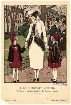 Fashions by Jeanne Lanvin in fashion plate by Pierre Brissaud for 'La Gazette du Bon Ton,' 1920