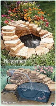 DIY Garden Fountain Landscaping Ideas & Projects with Instru.- DIY Garden Fountain Landscaping Ideas & Projects with Instructions DIY Concrete Fountain Instruction – DIY Fountain Landscaping Ideas & Projects - Concrete Fountains, Diy Garden Fountains, Diy Fountain, Outdoor Fountains, Garden Pond, Front Yard Fountains, Rock Fountain, Herb Garden, Outdoor Ponds