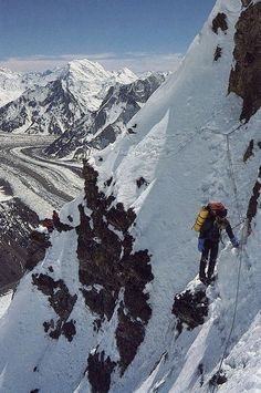 First Ascent South-Southeast Spur Cesen Route. Doug Scott Climbing On Steep Lower Section during British 1983 Expedition. Ice Climbing, Mountain Climbing, Alpine Climbing, Bergen, Pakistan Travel, Extreme Sports, Mountaineering, Adventure Is Out There, Climbers
