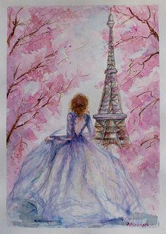 Paris Watercolor Eiffel Tower Paris Eiffel Tower Decor