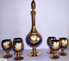 VETRO OPULINA ITALIAN BLUE GOLD DECANTER 6 GLASSES | Trade Me
