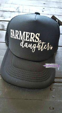 491dfc2f68ce3 Items similar to Farmer's Daughter Trucker Hat, Farm Life, Black Trucker Hat,  Trucker Hat, Snapback Hat, Black Hat, Farm Girl, Farm Hand, God Made a  Farmer ...