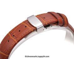 Lerderband mit Faltschließe in Edelstahl - Schwarz mit weißer Stepnaht Belt, Tools, Watches, Accessories, Leather Cord, Stainless Steel, Black, Belts, Instruments