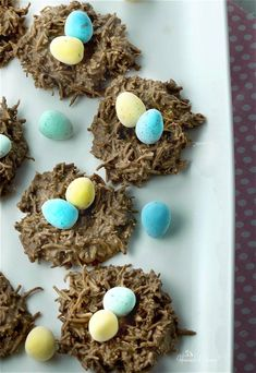 Easy No Bake Chocolate Coconut Nests require just 2 ingredients! Melt, mix, shape, set and then fill with your favourite Easter treats.