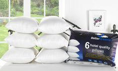 Groupon Goods Global GmbH: Six Hotel-Quality Non-Allergenic Fibre-Filled Pillows Hotel Quality Pillows, Hotel Pillows, Soft Pillows, Bed Pillows, Six Hotel, Moving Home, Support Pillows, Poor Children, Pillow Design