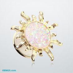 Golden Blazing Sun Opal Glitter Ear Gauge Plug
