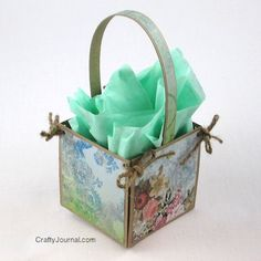 Easy gift box-decorate with scrapbook paper, Christmas cards, magazine pictures etc.