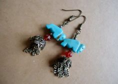 Turquoise Buffalo Fetish Dangle Earrings