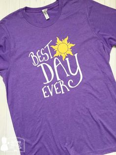 Best Day Ever Tee is perfect for your vacation at the most magical place on earth! If you love Disney this Rapunzel shirt is perfect for you! Great for Disney runs and marathons, too.  High quality shirt with design in top quality heat transfer vinyl professionally heat pressed. Shirt is cotton blend. Unisex Sizing - if you prefer a fitted tee style, please size down one size. We have kids sizes, too! Fun if you want to do a mommy & me matching set: https://www.etsy.com/lis...