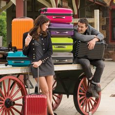 Who said you have to travel with boring black luggage? Check out @Brookstone's colorful line! - 731776p