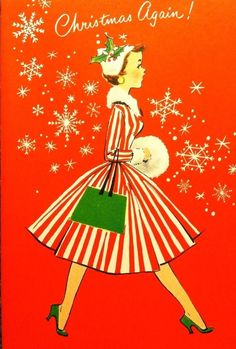 Vintage christmas card stripy dress