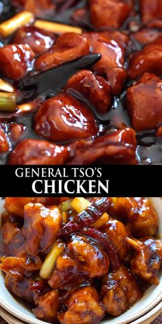 General Tso's Chicken - Deep-fried chicken in a sweet, savory and spicy General Tso's sauce. This recipe tastes like the best Chinese restaurants.