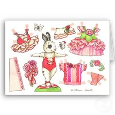 Carnation Valentine Paper Doll Card