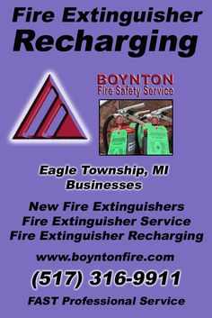 Fire Extinguisher Recharging Eagle Township (517) 316-9911.. Local Michigan Businesses you have found the complete source for Fire Protection. Fire Extnguishers, Fire Extinguisher Service.. We're got you covered..