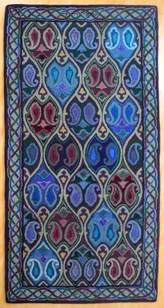 """What I find wonderful on this is the outlining.  lovely pinner Jenny Sandrof wrote: """"Stunning rug hooked by my mother-in-law."""""""