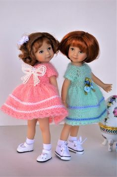 """This Peach Mohair Dress for Easter fits 8"""" Heartstring dolls by Dianna Effner. 