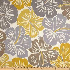 Suburban Home Indoor/Outdoor Hibiscus Nickel - Discount Designer Fabric - Fabric.com