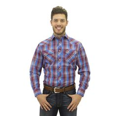 1e3dc487ac1 Starr Western Plaid Snap Shirt with Modern Fit Western Outfits