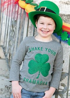 2eb5b85e1a78 Glitter Shake Your Shamrock Tee for Girls or Boys for St. Patrick's Day  Shamrock Shirt