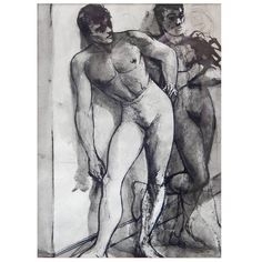 """""""Waiting Offstage,"""" 1940s Ink Wash Drawing of Male Ballet Dancers 