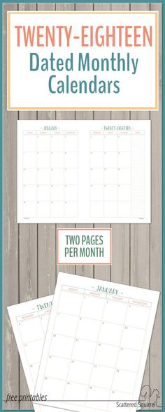 The two page per month 2018 dated calendars offer plenty of room for planning. They feature a column for notes on the right hand page to make it even easier to plan things out.