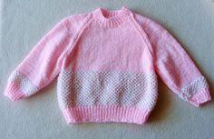 PULL tricoté en laine rose et blanche pour bébé 12 à 18 mois : Mode Bébé par danielainetricots