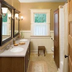 love the double vanity beadboard and cafe style curtain